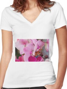 orchid bloom Women's Fitted V-Neck T-Shirt