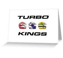 F1 80s TURBO KINGS - PIQUET/PROST/SENNA Greeting Card