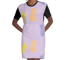 cat abstract Graphic T-Shirt Dress