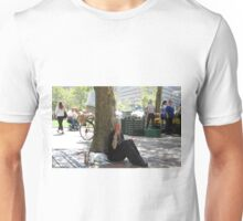 Sitting and dancing to the street. Unisex T-Shirt