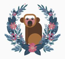This Japanese Monkey Can NOT Believe It! (Black) #trending // Cute funny monkey + flowers illustration One Piece - Long Sleeve