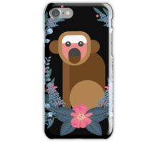 This Japanese Monkey Can NOT Believe It! (Black) #trending // Cute funny monkey + flowers illustration iPhone Case/Skin