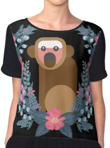 This Japanese Monkey Can NOT Believe It! (Black) #trending // Cute funny monkey + flowers illustration Chiffon Top