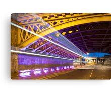 Light Trails, High Level Bridge, Newcastle, Tyne and Wear, UK Canvas Print