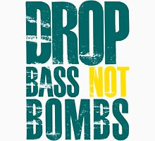 Drop Bass Not Bombs (teal/yellow)  Mens V-Neck T-Shirt