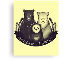 Modern Bear Family - Yellow Canvas Print