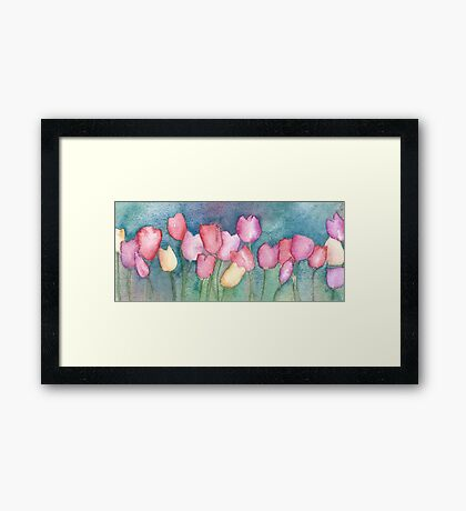 Red, purple, yellow tuilips Framed Print