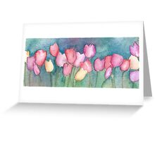 Red, purple, yellow tuilips Greeting Card