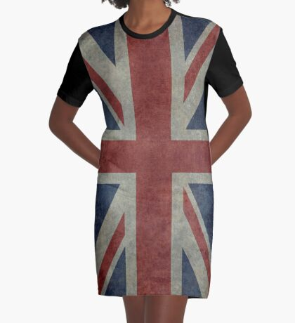 Union Jack Desaturated Grunge (3:5 Version) Graphic T-Shirt Dress