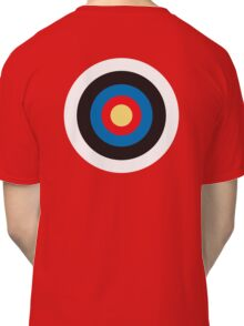 Bulls Eye, Target, Right on Target, Roundel, Archery, on BLACK Classic T-Shirt