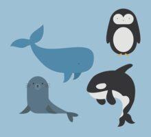 Cute North Pole Arctic Animals Sticker Series One Piece - Short Sleeve