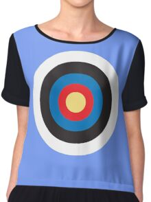 Bulls Eye, Target, MOD, Roundel, on BLACK Chiffon Top