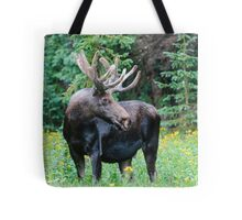 Moose in Wildflowers Tote Bag