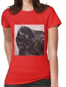 Buffalo Bull licking Wounds  Womens Fitted T-Shirt