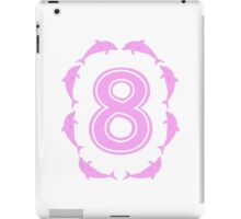 Baby learns to count with pink dolphin 8 iPad Case/Skin