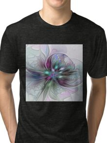 Colorful Fantasy Flower abstract and modern Fractal Art Tri-blend T-Shirt