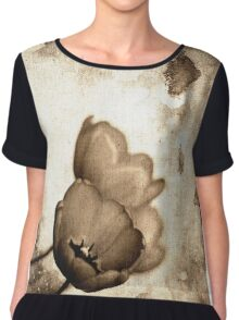 Vintage Flowers Sepia-Black-White Chiffon Top