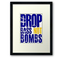 Drop Bass Not Bombs (dark blue/yellow)  Framed Print