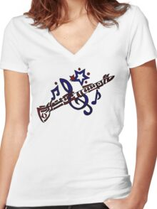 Cool Clarinet Musical Art Original Women's Fitted V-Neck T-Shirt