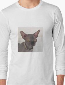 Rock black sphynx cat Long Sleeve T-Shirt