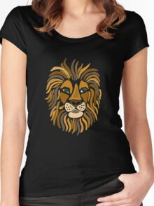 Cool Funky Artistic Lion Abstract Art Women's Fitted Scoop T-Shirt
