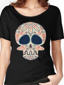 Hand Drawn Sugar Skull (Black) #trending // Girlish Day of the Dead Women's Relaxed Fit T-Shirt