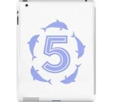 Baby learns to count with blue dolphin 5 iPad Case/Skin