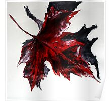 Canada Maple Leaf Red Acrylic On Paper Contemporary Painting  Poster