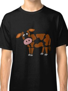 Cool Funny Funky Brown and White Cow Art Classic T-Shirt