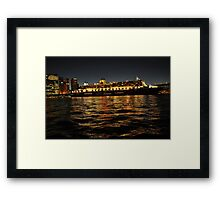 Queen Mary 2 Ocean liner at night in Sydney Australia Framed Print