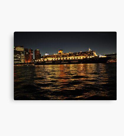 Queen Mary 2 Ocean liner at night in Sydney Australia Canvas Print