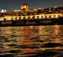 Queen Mary 2 Ocean liner at night in Sydney Australia Sticker