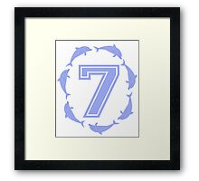 Baby learns to count with blue dolphin 7 Framed Print