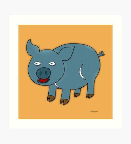 Blue Pig Art Print