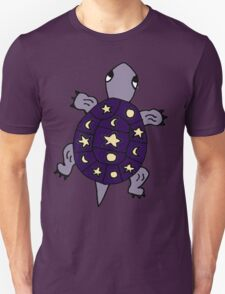 Cool Funny Funky Purple Turtle with Stars and Moons Unisex T-Shirt