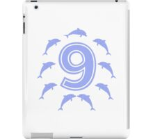 Baby learns to count with blue dolphin 9 iPad Case/Skin