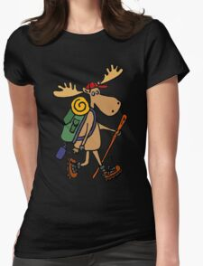 Cool Funny Moose Hiking withBackpack Womens Fitted T-Shirt