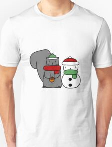 Squirrel and Tiny Snowman Unisex T-Shirt