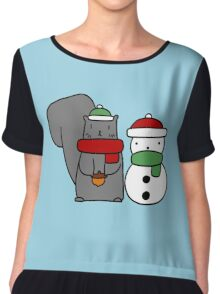 Squirrel and Tiny Snowman Chiffon Top