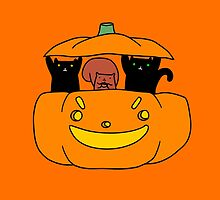 Pumpkin Squirrel and Black Cats by SaradaBoru