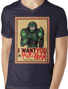Rip and Tear Mens V-Neck T-Shirt