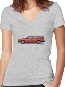 Volvo 740 745 Classic Red Women's Fitted V-Neck T-Shirt