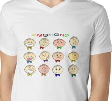 Funny cartoon children's emotions Mens V-Neck T-Shirt