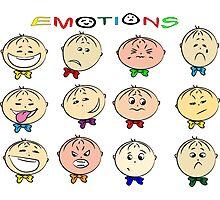 Funny cartoon children's emotions Photographic Print