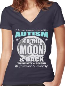 AUTISM MOON Women's Fitted V-Neck T-Shirt