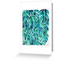 Split Leaf Philodendron – Teal Greeting Card