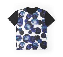 Watercolor Night Starry Sky in Circles Graphic T-Shirt