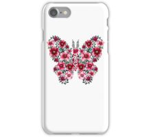 Watercolor Floral Butterfly with Bright Red Flowers and Deep Green Leaves iPhone Case/Skin