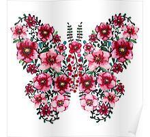 Watercolor Floral Butterfly with Bright Red Flowers and Deep Green Leaves Poster