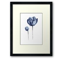 Peony Navy Nursery Watercolor Painting Blue Flower Drawing Framed Print
